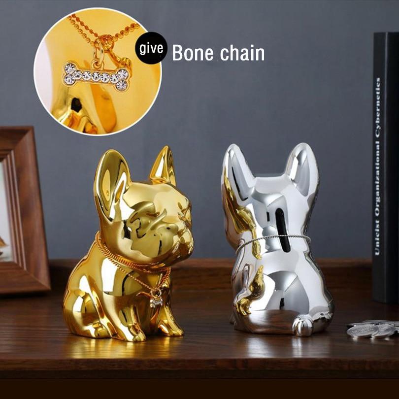 Hidden Secret Security Safe Box Creative Piggy Bank Bulldog Resin Decoration Large Coin Money Box Cute Puppy Home For Kid Gift