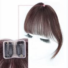 Клипса в челке человеческие волосы 3D воздушные челки для женщин бразильские волосы кусок Невидимые Бесшовные не-Реми замена волос парик