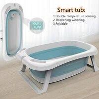 Складная детская Ванна для душа с термометром, смарт-зондирование температуры, Детские ванны, детские Нескользящие расширенные и утолщенны...