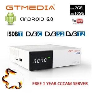 GTMEDIA GTC 4K Android caja de Receptor DVB-C Youtube DVB-S2 DVB-T2 Bluetooth 4,0 Receptor de satélite con 2 año 5 Cline Biss VU caja