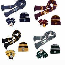 3 pçs hogwarts escola cachecol ravenclaw hermione longo cachecóis slytherin hufflepuff neckerchief para feminino masculino menino luvas chapéu da menina