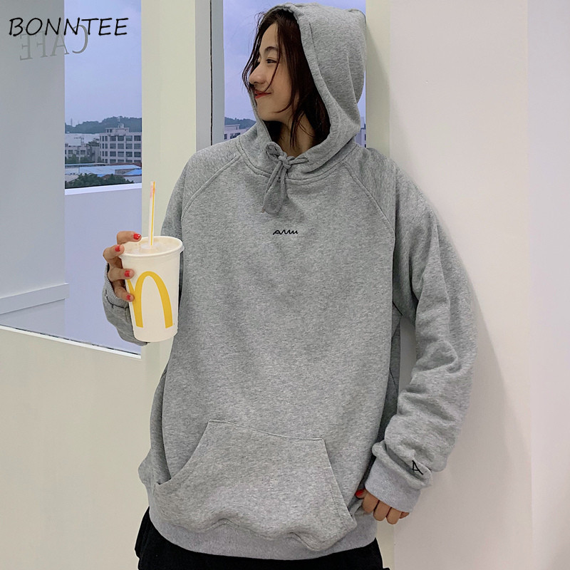 Hoodies Women Ulzzang Streetwear Hooded 2020 Spring Autumn Loose Student Thin Simple Fashion Chic Korean Style Womens Clothing