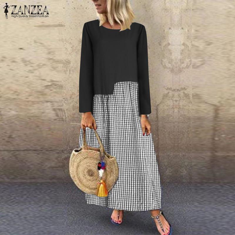 Women's Check Sundress ZANZEA 2019 Autumn Vintage Linen Dress Casual Patchwork Midi Vestidos Female Plaid Tunic Robe Oversized