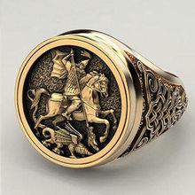 Punk delicado guerreiro dragão masculino anel jóias hip hop soldado militar signet anéis para homem personalidade presentes biker jóias
