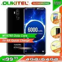 Oukitel smartphone k9, telefone celular, tela de 7.12 polegadas fhd, bateria 6000mah, 5v/6a, carregamento rápido, 4 celular gb 64gb 16mp/8mp face id