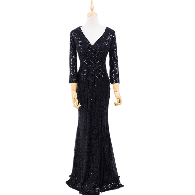 Plus Size Evening Host Long Dresses V Neck Zipper Simple Party Gown Soiree Sexy   Formal Dress MS 0079