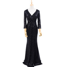 Robe de soirée longue, col en V, fermeture éclair, Simple, Sexy, robe de fête, grande taille, MS 0079