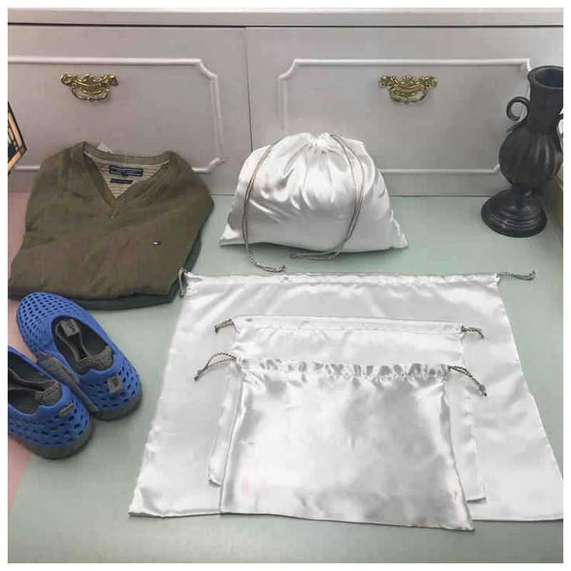 White Bag Dust Bag Anti-dust Bag Pocket Drawstring Bag Custom Environmental Storage Bag Clothing Shoe Storage Bag Satin Silk