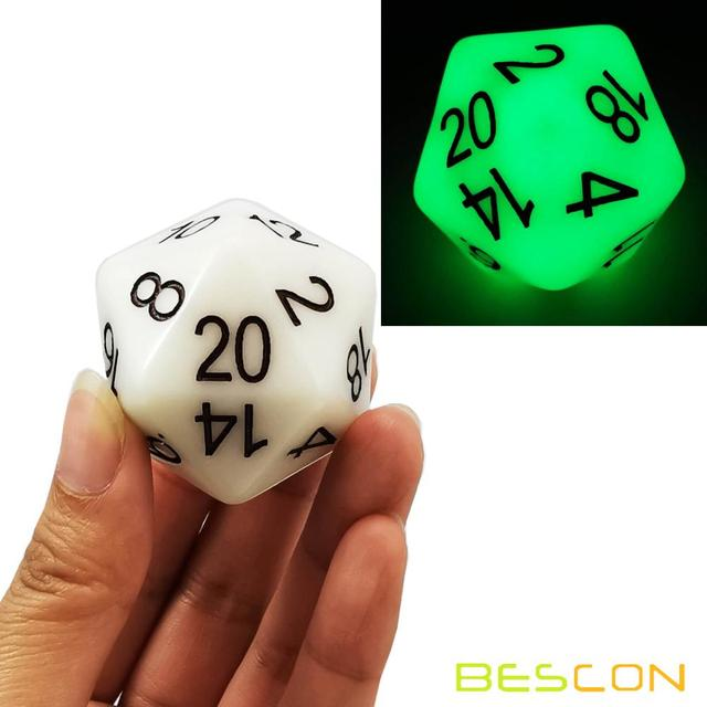 Bescon Jumbo Glowing D20 38MM, Big Size 20 Sides Dice 1.5 inch, Big 20 Faces Cube in Various Solid, Glitter, Glowing Colors 3