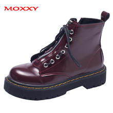 2019 New Punk Combat Boots Women Platform Martin Boots Leather Red Black Ankle Boots Zip Lace Up Gothic Vintage Shoes Woman