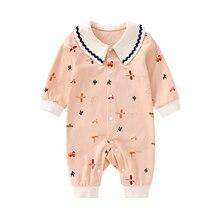 Pureborn bebê recém nascido menina macacão peter pan colar impresso doce infantil menina macacão de algodão roupas do bebê pijamas playsuit