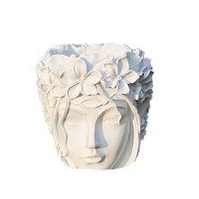 Beautifull 3D molde de jarrón de cemento para cabeza de niña, maceta de hormigón para flores, moldes de silicona para maceta, decoración de jardín artesanal