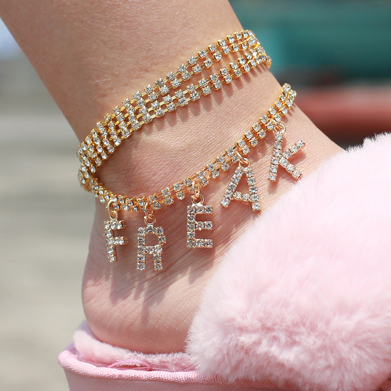 Women NASTY Letter Ankle Bracelet Rhinestone Boho Silver Color Gold Foot Beach Party Club Anklet Fashion Barefoot Chain Jewelry