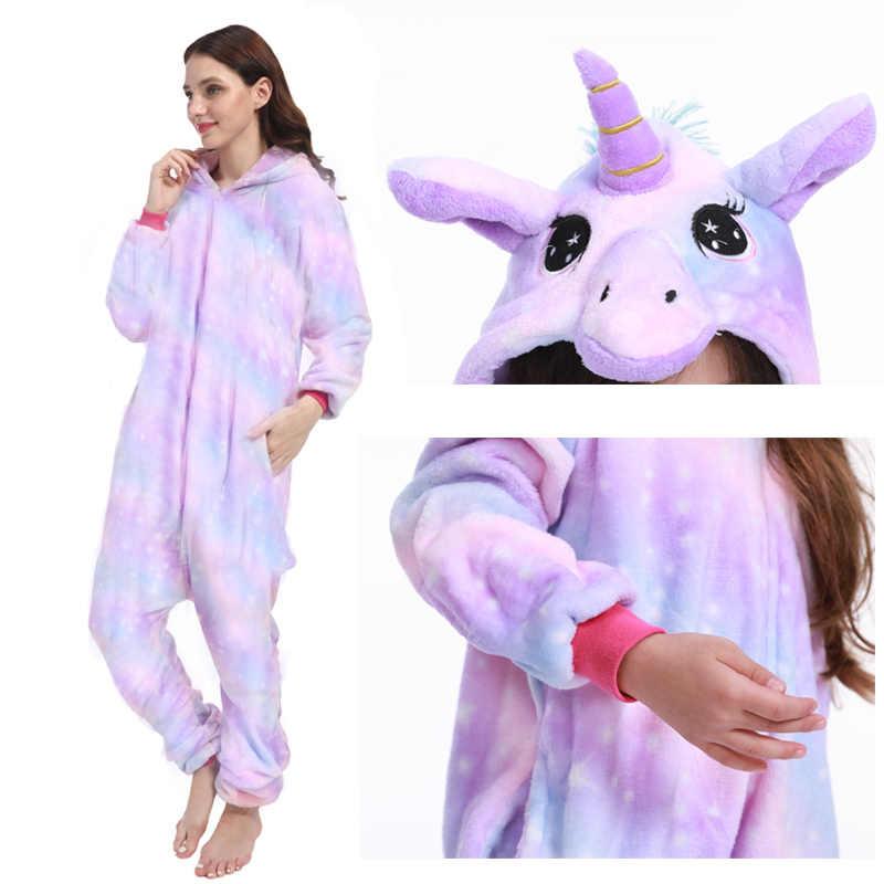 ใหม่สัตว์ Unicorn ชุดนอนผู้ใหญ่ฤดูหนาวชุดนอน Kigurumi PANDA Pikachu ชุดนอนผู้หญิง Onesie อะนิเมะเครื่องแต่งกาย Jumpsuit