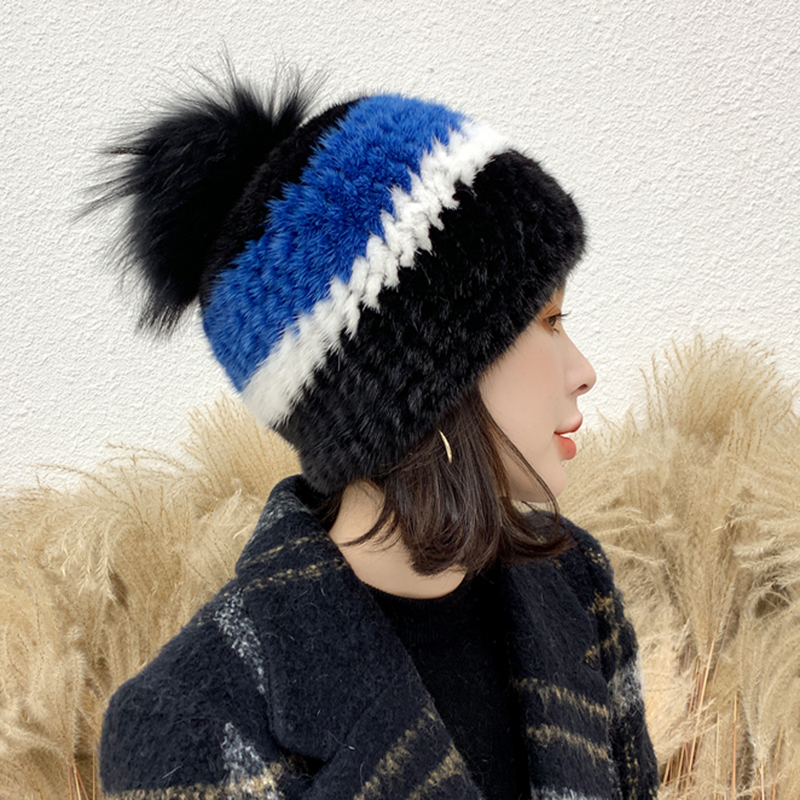 2020 Winter Hats Women's Real Mink Fur Hat With Fox Fur Pompom Natural Raccoon Fur Warm Knitted S7712