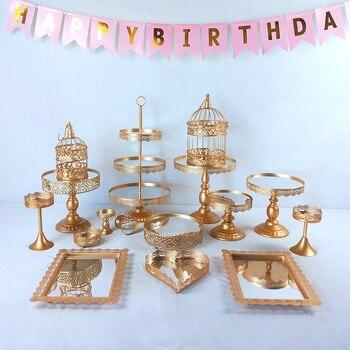 Gold Metal Cake Stand Holder 6- 16 Pcs/Set Cupcake Serving Display Rack Birthday Party Wedding Decoration/White white crystal metal cake stand set cupcake rack dessert display holder party wedding table decorations