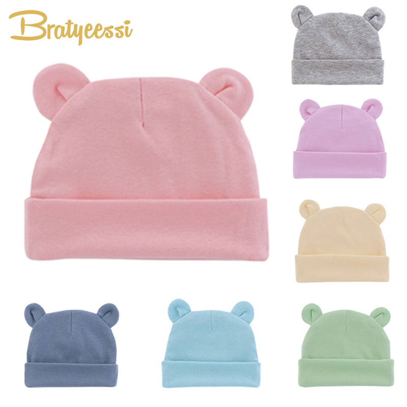 Cute Baby Hat Newborn Beanie Cotton Soft Elastic Baby Cap for Girls Boys Hats Newborn Photography Props Infant Accessories