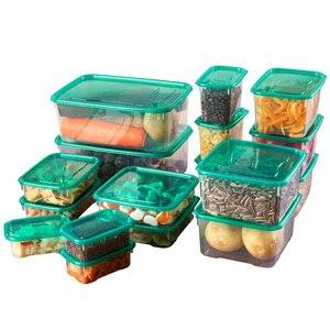 Image 5 - 17 יח\סט מטבח מיקרוגל מקרר חותם מזון אחסון תיבת מיכל ברור פלסטיק מיכל אחסון