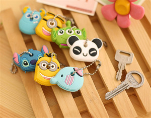 1PC Cartoon Key Cover Cute Anime Totoro Silicone KeyChains Women Funny Animal Key Holder Caps Key Chain Child Gift