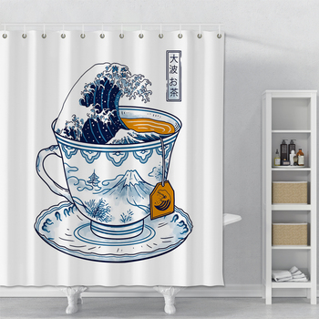 Japanese-style White Shower Curtain Printed Ocean Waves Bathroom Polyester Shower Curtain With Hooks Waterproof Shower Curtain