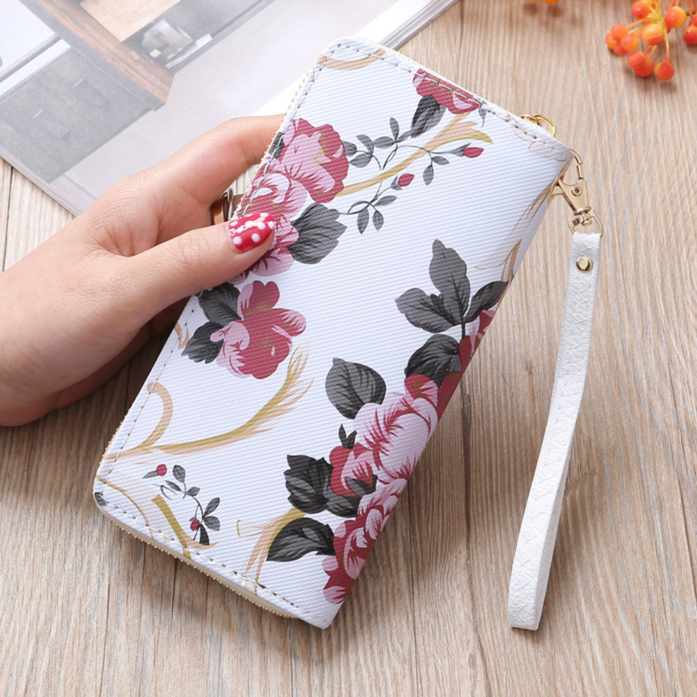 Women's Floral Print Fashion Long Purse Large Capacity Clutch Phone Bag PU Leather Ladies Card Holder Wallets