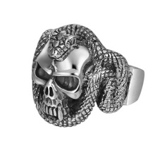 925 Sterling Silver Jewelry Men Women Punk Skull Cobra Opening knuckle Ring Christmas gifts недорого