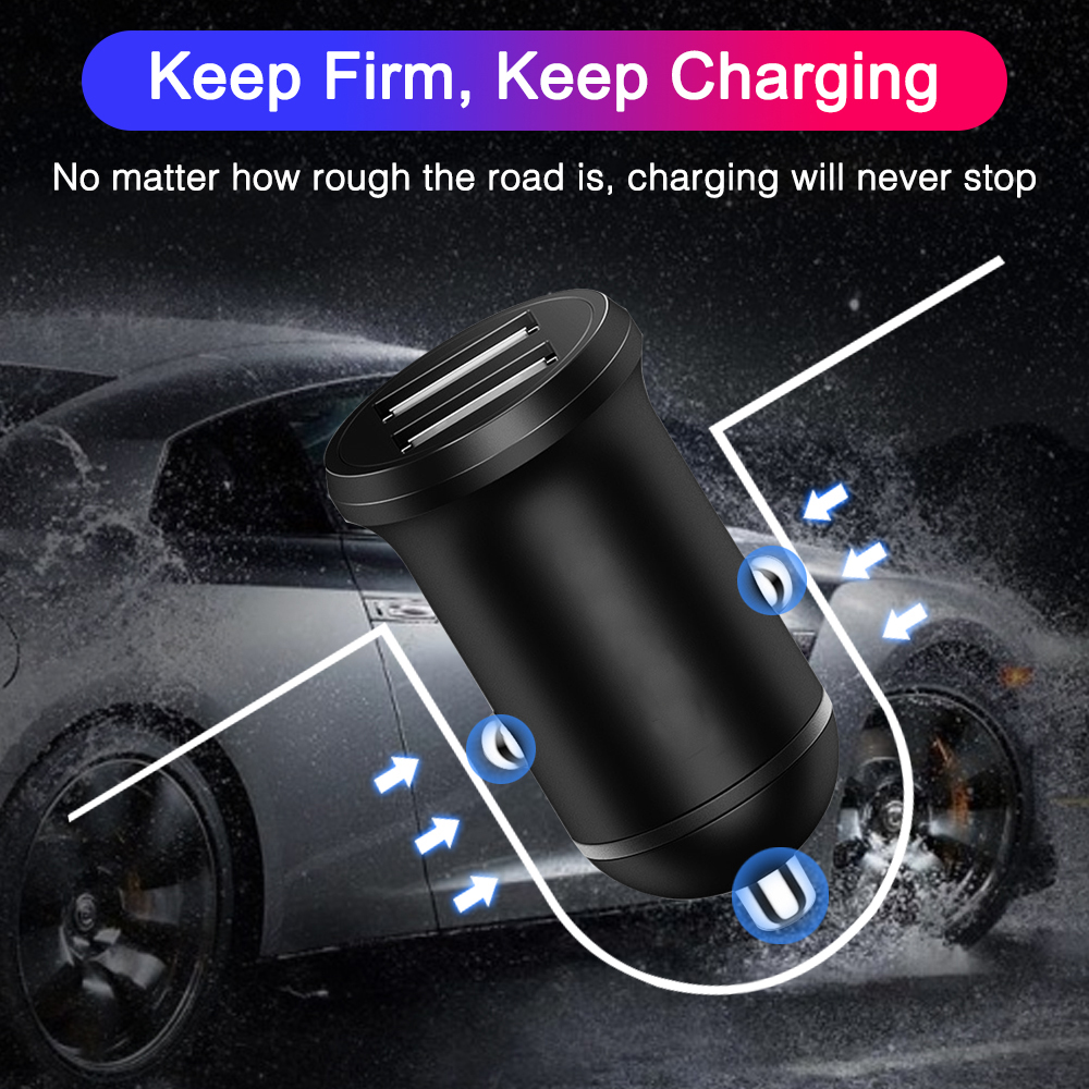 Universal <font><b>Mini</b></font> <font><b>Car</b></font> Dual <font><b>USB</b></font> Socket <font><b>Charger</b></font> 5V 2.4A High Quality with Led light power <font><b>adapter</b></font> for <font><b>car</b></font> Truck ATV Boat 12-24V image