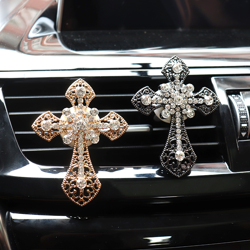 Car Accessories Interior Car Air Freshener Diamond Cross Jesus Christian Vent Clip Aroma Car Smell Flavoring In Auto Decoration