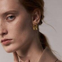 Enfashion brincos ocos com círculos cor de ouro brincos de luz feminino aço inoxidável natal moda jóias pendientes e1193