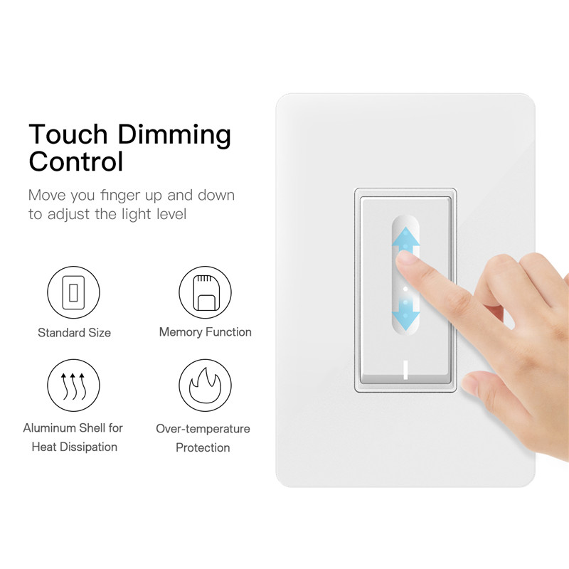 WiFi Smart Light Dimmer Switch Elegantly Designed Smart Life APP Works With Alexa Google Home For Voice Control,No Hub Required