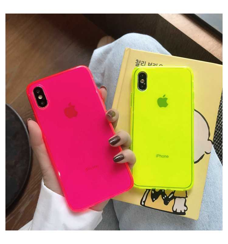 Fashion Neon Kuning Phone Case untuk iPhone 11 Pro Max XR X XS Max 7 8 PLUS Back Cover Luxury Couple transparan Lembut Kasus