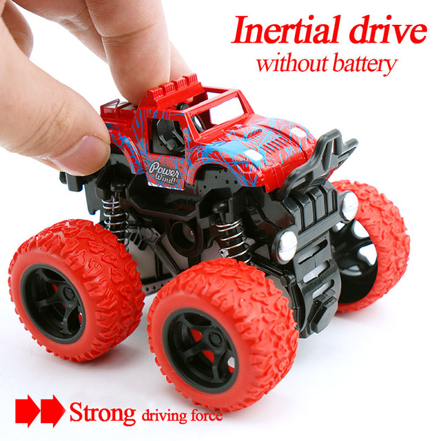 Mini 4Wd Inertia Rotatable Car Toys Friction Power Four Wheeled Off Road Vehicle Diecast Model Inertial