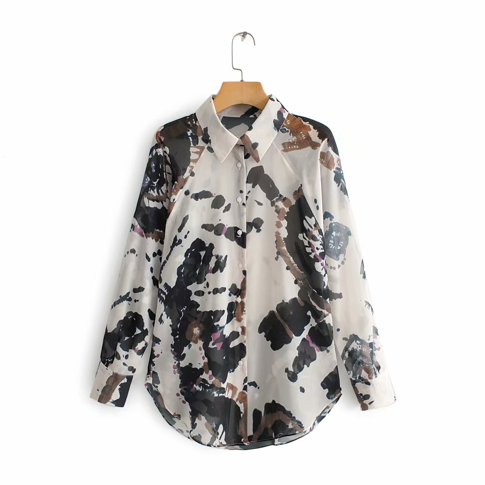 2019 Women Vintage Ink Painting Printing Casual Shirt Blouses Women Long Sleeve Perspective Chic Blusas Retro Tops LS3980