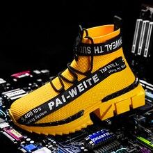 Baskets de marche pour garçons, chaussures jaunes, chaussures de Sport pour hommes, respirantes, tendance, taille 39 à 48, nouvelle collection 2019