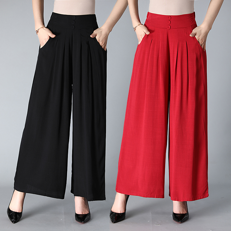 Wide Leg Pants Dance Pant High Quality Solid Loose Wide-Legged Pants Women Dance Trousers Cross Pants Casual Cropped Pants