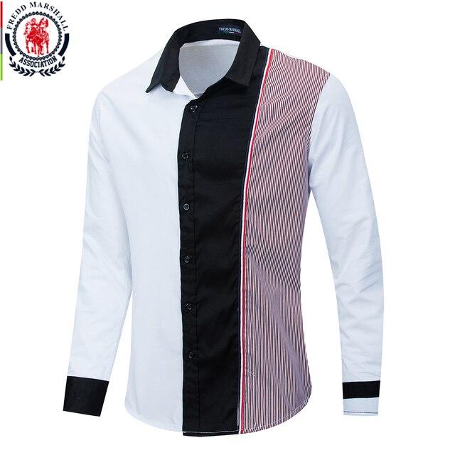 قميص فريد مارشال موضة 2020 بأكمام طويلة مُزين بقطع قماش مُخططة قمصان رجالية اجتماعية غير رسمية 100% قطن كاميسا ماسكولينا 220