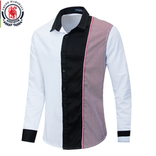 Fredd Marshall 2020 Fashion Long Sleeve Patchwork Striped Shirt Men Casual Social Male Shirts 100% Cotton Camisa Masculina 220