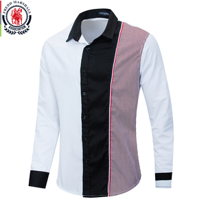 Image 1 - Fredd Marshall 2020 Fashion Long Sleeve Patchwork Striped Shirt Men Casual Social Male Shirts 100% Cotton Camisa Masculina 220