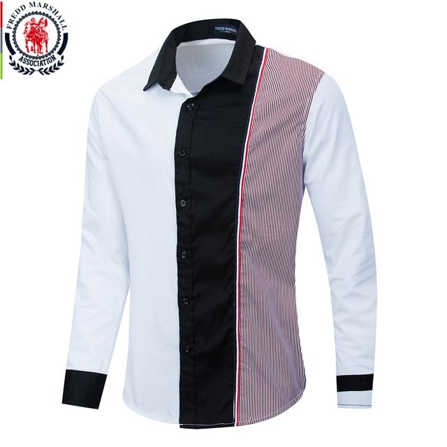 Fredd Marshall 2020 Fashion Long Sleeve Patchwork Striped Shirt Men Casual Social Male Shirts 100% Cotton Camisa Masculina 220
