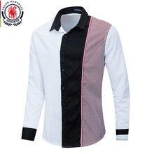 Fredd Marshall 2020 Thời Trang Dài Tay Miếng Dán Cường Lực Áo Sơ Mi Sọc Nam Xã Hội Nam Áo 100% Cotton Camisa Masculina 220