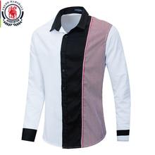 Fredd Marshall 2020 moda uzun kollu Patchwork çizgili gömlek erkekler rahat sosyal erkek gömlek % 100% pamuk Camisa Masculina 220