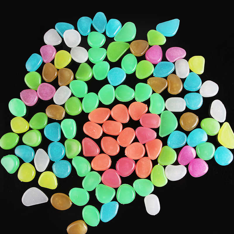 50/100 XเรืองแสงในDark Garden PebblesหินเงาRockบ้านสวนAquariumกลางแจ้งWeedings Decorตกแต่งถังปลาผสมสี