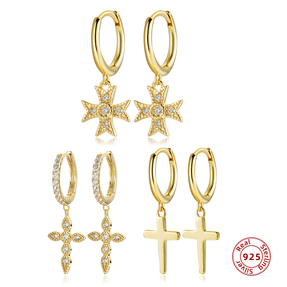 925 Sterling Silver Zircon Cross Pendant Hoop Earring for Women Gold Color Simple Small Circle Earrings Huggie Jewelry Gift