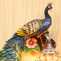 European Rural Colorful Peacock Resin Wall Lamp Crystal Wall Light Bedside Corridor Living Room Study Hotel Wall Lamp