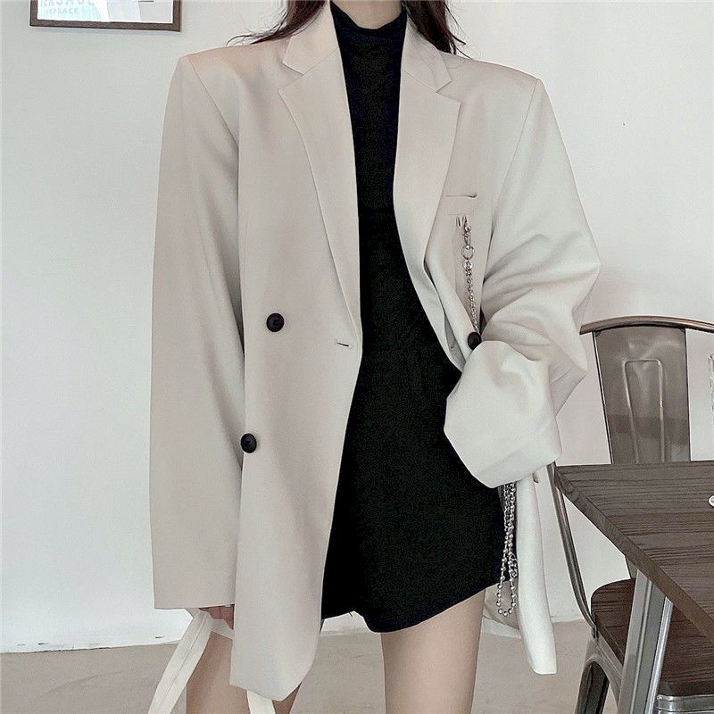 New suit jacket women's trendy dark black ins retro loose and thin fried street suit jacket women 2020 spring and autumn loose a