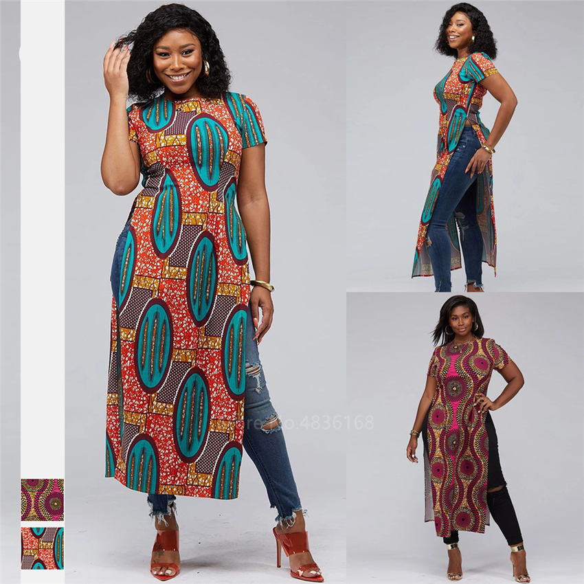 Fashion 2020 African Clothes Dashiki Split Ankara Style Robe Africaine Vestido African Dresses For Women Shirts Ladies Plus Size