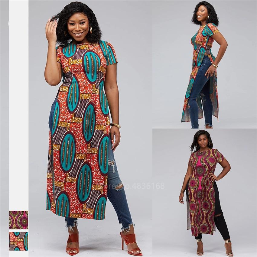Fashion 2020 African Clothes Dashiki Split Ankara Style Robe Africaine Vestido African Dresses For Women Shirts Ladies Plus Size
