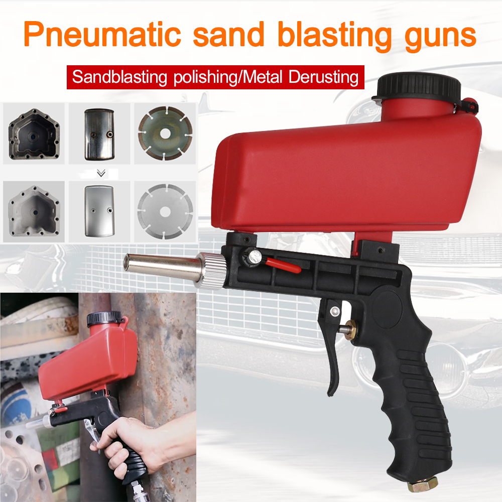 Sandblasting Gun Sandblast Machine Pneumatic Sandblaster Spray Gun Sand Removal Blasting Portable Gravity Adjustable Tool