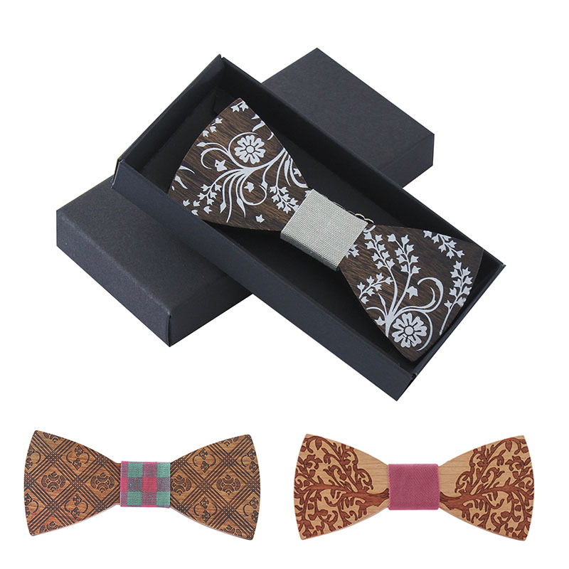 GUSLESON Fashion Designer Wooden Bow Tie Gentleman Groom Wood Necktie Wedding Party Bow Ties Wooden Tie For Man Accessories