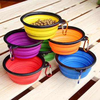 Dog Travel Silicone Bowl Portable Foldable Pet Cat Dog Food Water Feeding 2